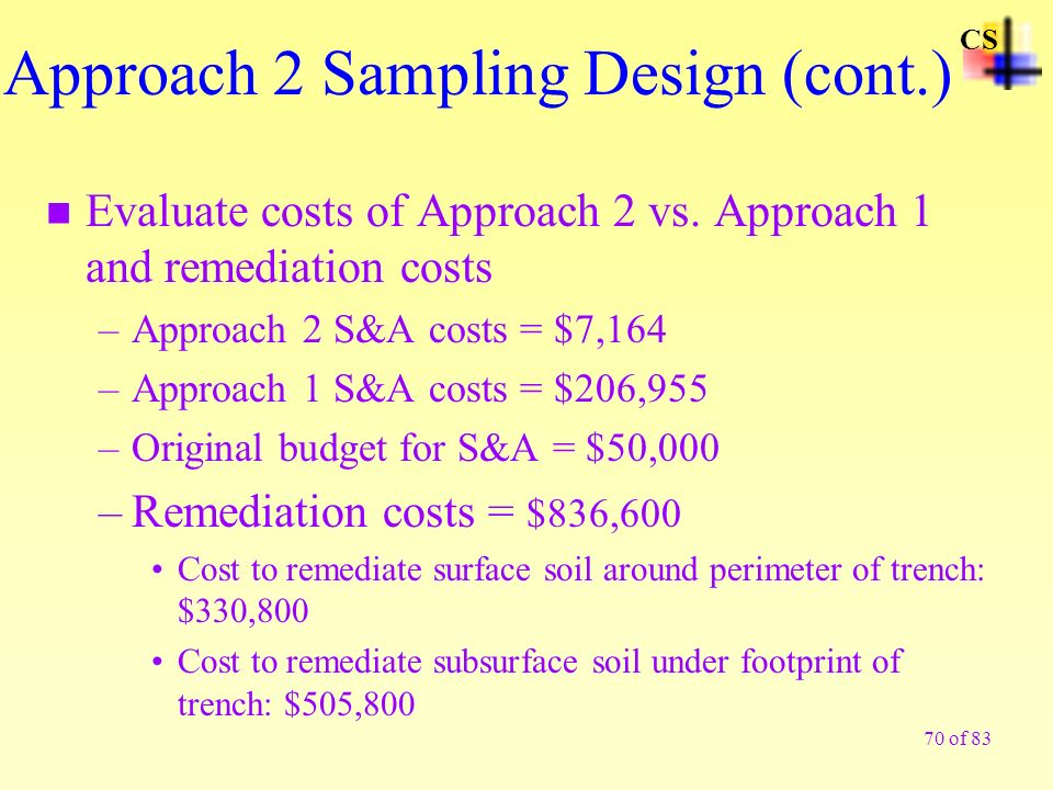 70 of 83 n Evaluate costs of Approach 2 vs. Approach 1 and remediation costs –Approach 2 S&A costs = $7,164 –Approach 1 S&A costs = $206,955 –Original