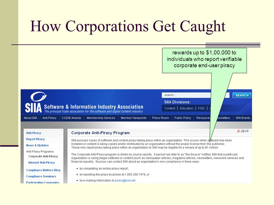 How Corporations Get Caught rewards up to $1,00,000 to individuals who report verifiable corporate end-user piracy