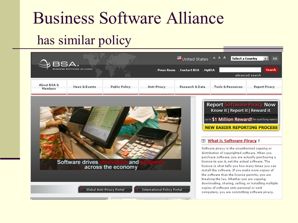 Business Software Alliance has similar policy