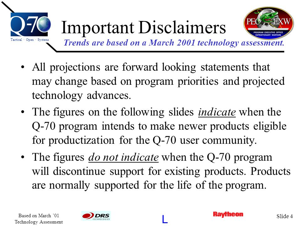 Tactical · Open · Systems L Based on March 01 Technology Assessment Slide 4 Important Disclaimers All projections are forward looking statements that
