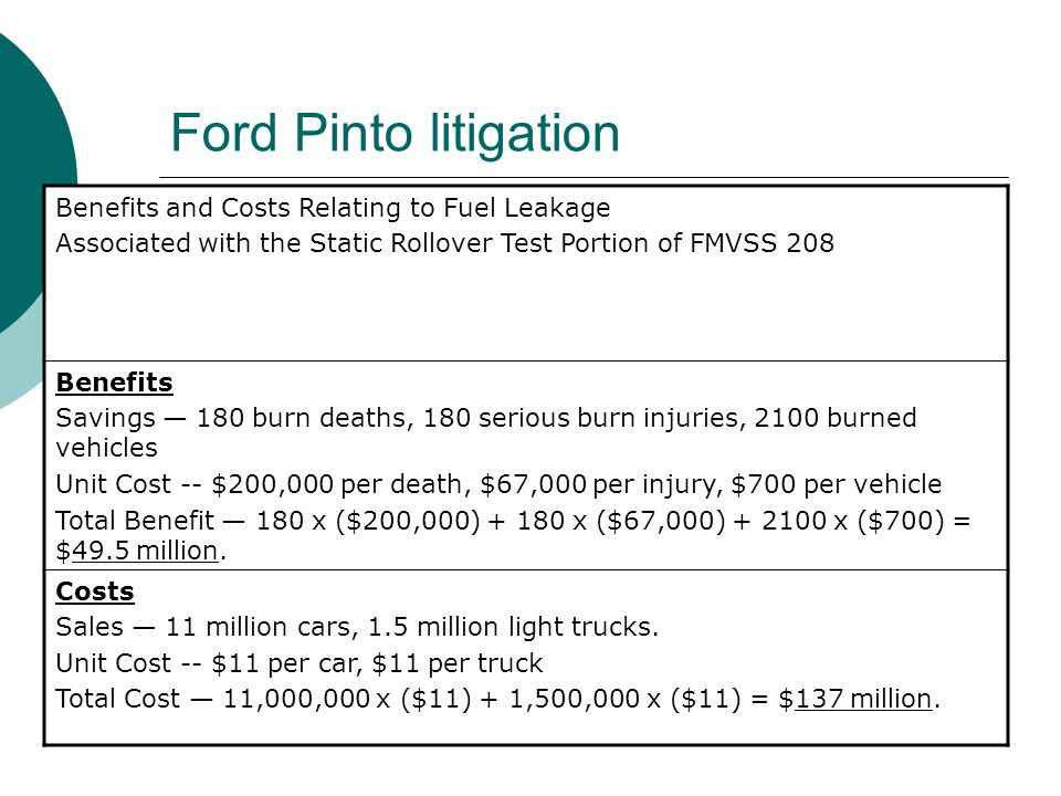 Ford Pinto litigation Benefits and Costs Relating to Fuel Leakage Associated with the Static Rollover Test Portion of FMVSS 208 Benefits Savings 180 b