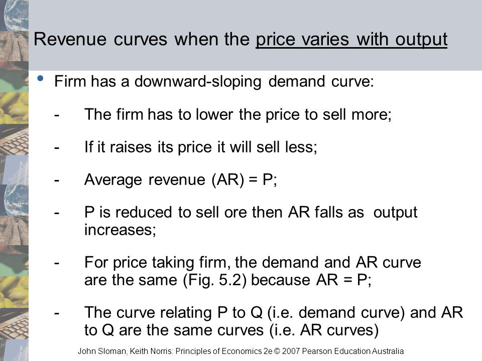 John Sloman, Keith Norris: Principles of Economics 2e © 2007 Pearson Education Australia Revenue curves when the price varies with output Firm has a d