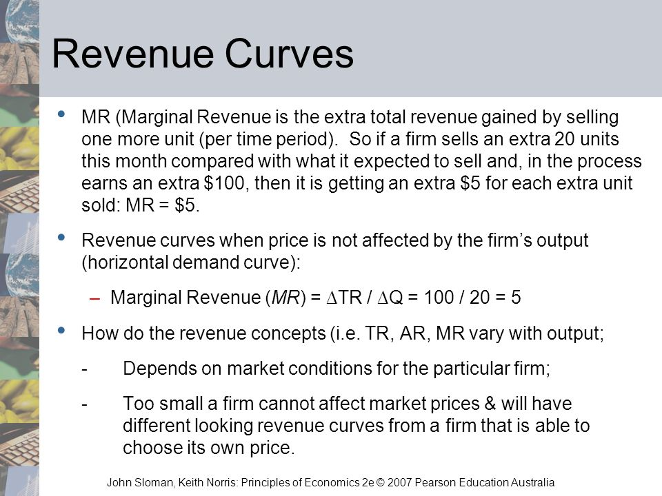 John Sloman, Keith Norris: Principles of Economics 2e © 2007 Pearson Education Australia Revenue Curves MR (Marginal Revenue is the extra total revenu