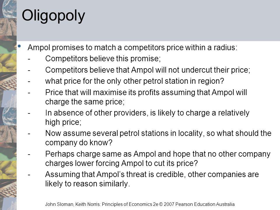 John Sloman, Keith Norris: Principles of Economics 2e © 2007 Pearson Education Australia Oligopoly Ampol promises to match a competitors price within