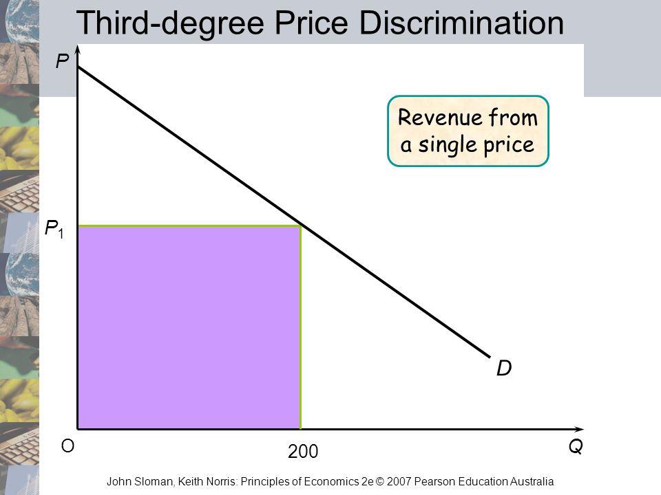 John Sloman, Keith Norris: Principles of Economics 2e © 2007 Pearson Education Australia P Q O P1P1 D 200 Revenue from a single price Third-degree Pri