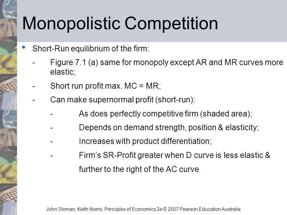 John Sloman, Keith Norris: Principles of Economics 2e © 2007 Pearson Education Australia Monopolistic Competition Short-Run equilibrium of the firm: -