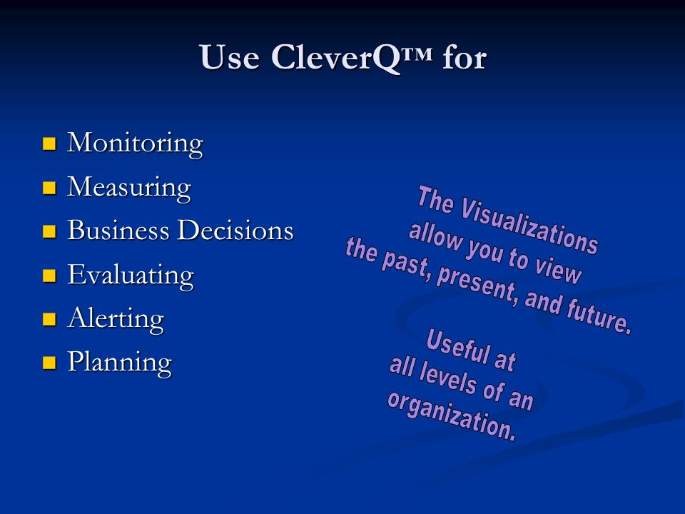 Use CleverQ for Monitoring Monitoring Measuring Measuring Business Decisions Business Decisions Evaluating Evaluating Alerting Alerting Planning Planning