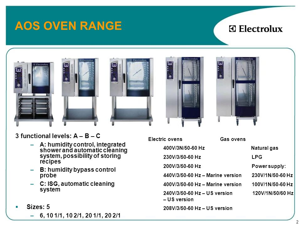 2 AOS OVEN RANGE 3 functional levels: A – B – C – –A: humidity control, integrated shower and automatic cleaning system, possibility of storing recipe