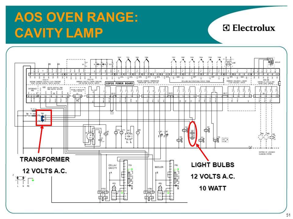 51 AOS OVEN RANGE: CAVITY LAMP TRANSFORMER 12 VOLTS A.C. LIGHT BULBS 12 VOLTS A.C. 10 WATT