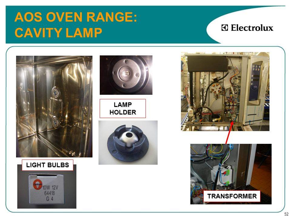 52 AOS OVEN RANGE: CAVITY LAMP LIGHT BULBS LAMP HOLDER TRANSFORMER