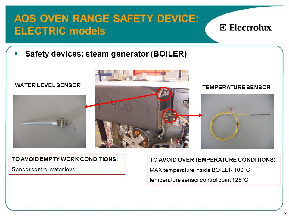 7 AOS OVEN RANGE SAFETY DEVICE: GAS models Safety devices: steam generator (BOILER) TO AVOID EMPTY WORK CONDITIONS: Sensor control water level.