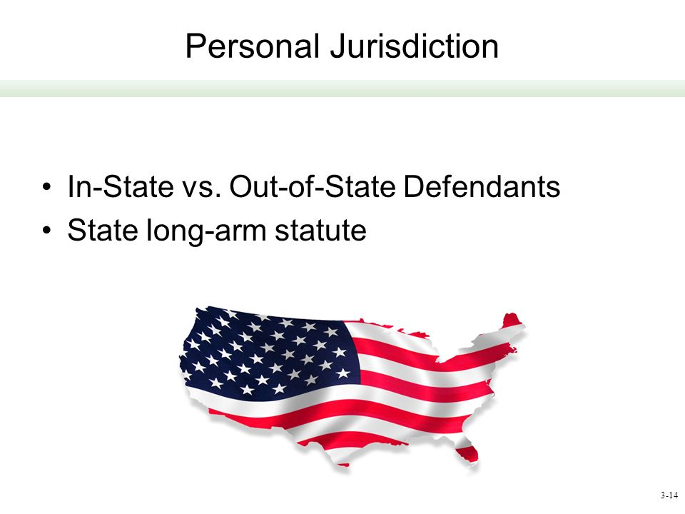 3-14 Personal Jurisdiction In-State vs. Out-of-State Defendants State long-arm statute