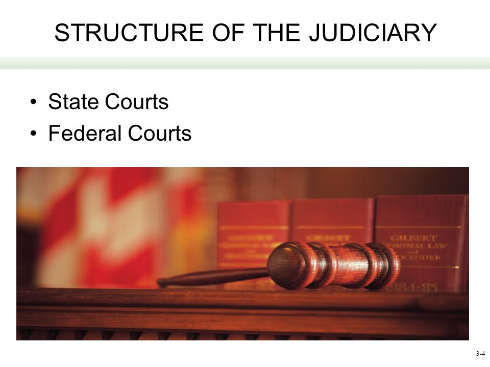 3-4 STRUCTURE OF THE JUDICIARY State Courts Federal Courts