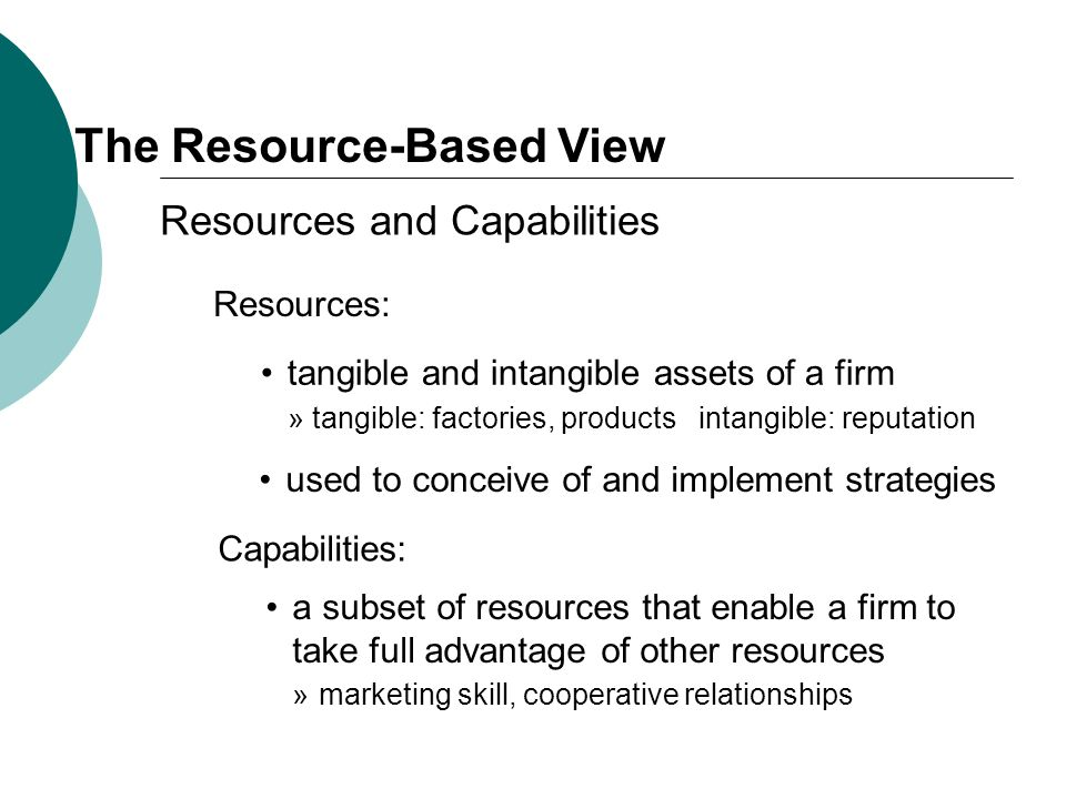 The Resource-Based View Resources and Capabilities Resources: tangible and intangible assets of a firm » tangible: factories, products intangible: rep