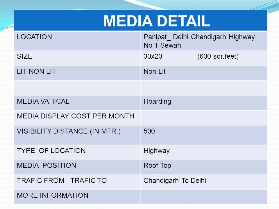 MEDIA DETAIL LOCATIONPanipat_ Delhi Chandigarh Highway No 1 Sewah SIZE30x20 (600 sqr.feet) LIT NON LITNon Lit MEDIA VAHICALHoarding MEDIA DISPLAY COST