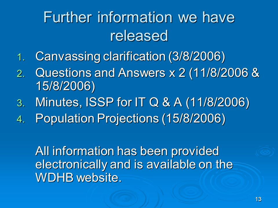 13 Further information we have released 1. Canvassing clarification (3/8/2006) 2.