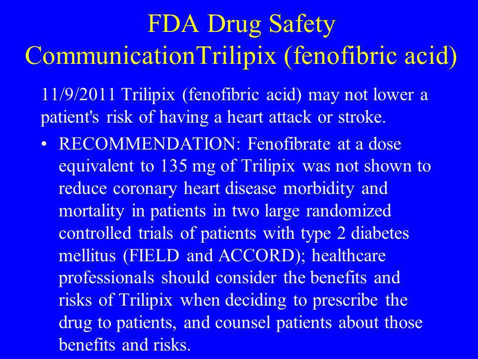 FDA Drug Safety CommunicationTrilipix (fenofibric acid) 11/9/2011 Trilipix (fenofibric acid) may not lower a patient's risk of having a heart attack o
