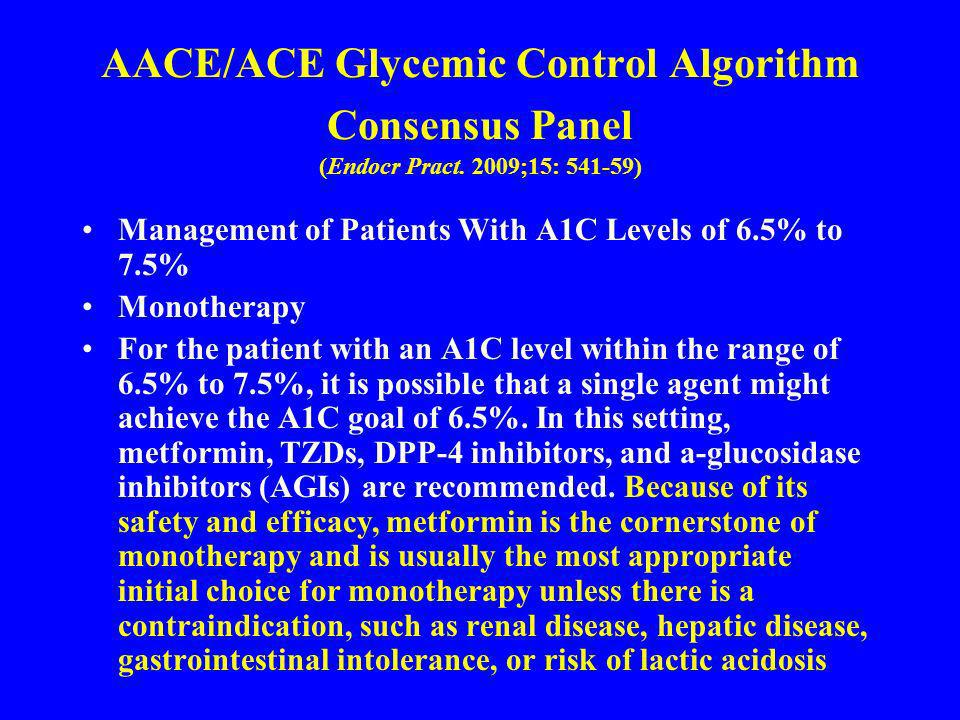 AACE/ACE Glycemic Control Algorithm Consensus Panel (Endocr Pract. 2009;15: 541-59) Management of Patients With A1C Levels of 6.5% to 7.5% Monotherapy