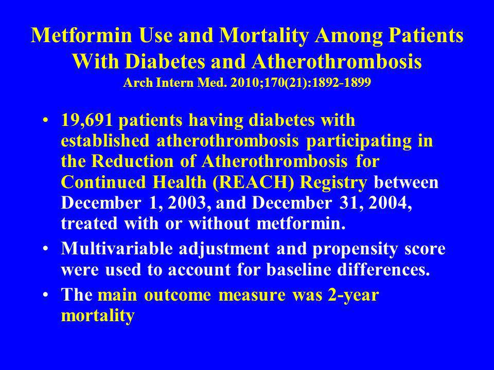 Metformin Use and Mortality Among Patients With Diabetes and Atherothrombosis Arch Intern Med. 2010;170(21):1892-1899 19,691 patients having diabetes