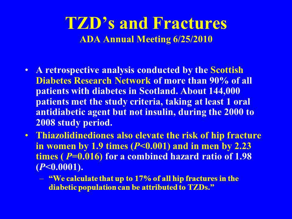 TZDs and Fractures ADA Annual Meeting 6/25/2010 A retrospective analysis conducted by the Scottish Diabetes Research Network of more than 90% of all p