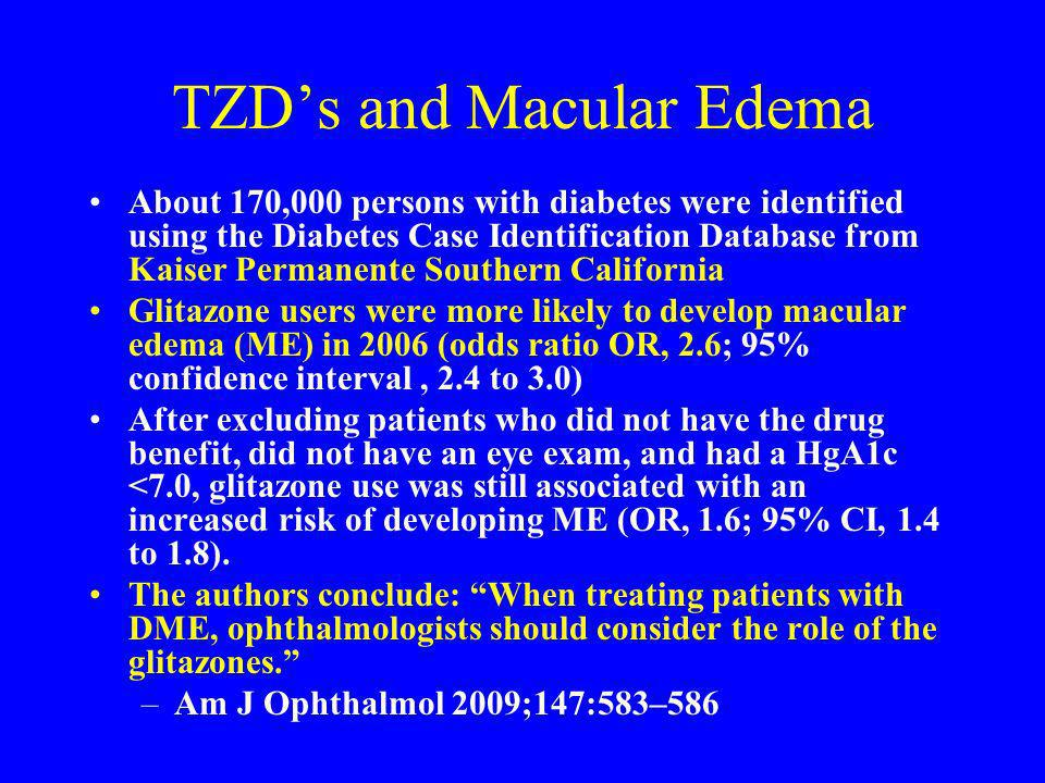TZDs and Macular Edema About 170,000 persons with diabetes were identified using the Diabetes Case Identification Database from Kaiser Permanente Sout