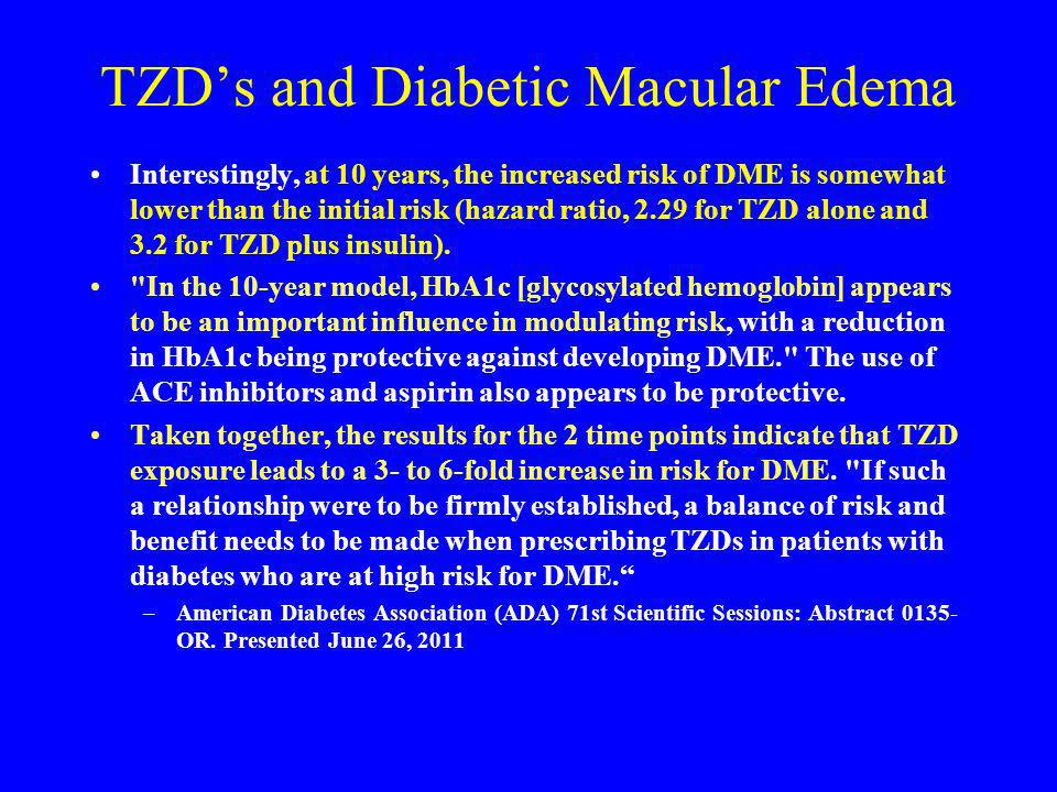 TZDs and Diabetic Macular Edema Interestingly, at 10 years, the increased risk of DME is somewhat lower than the initial risk (hazard ratio, 2.29 for
