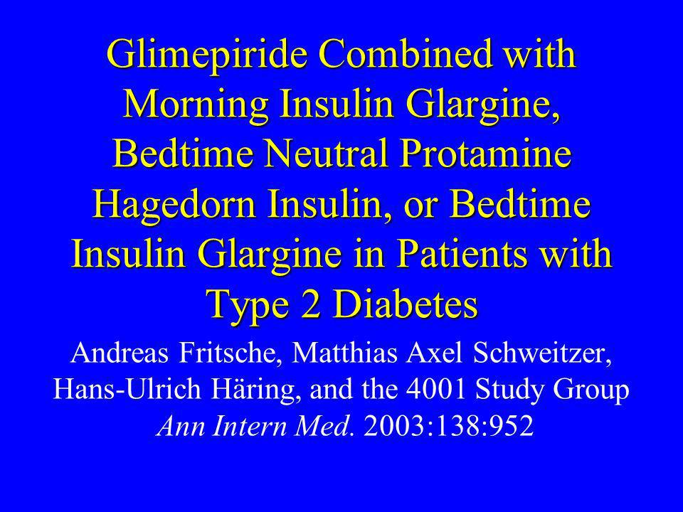 Glimepiride Combined with Morning Insulin Glargine, Bedtime Neutral Protamine Hagedorn Insulin, or Bedtime Insulin Glargine in Patients with Type 2 Di
