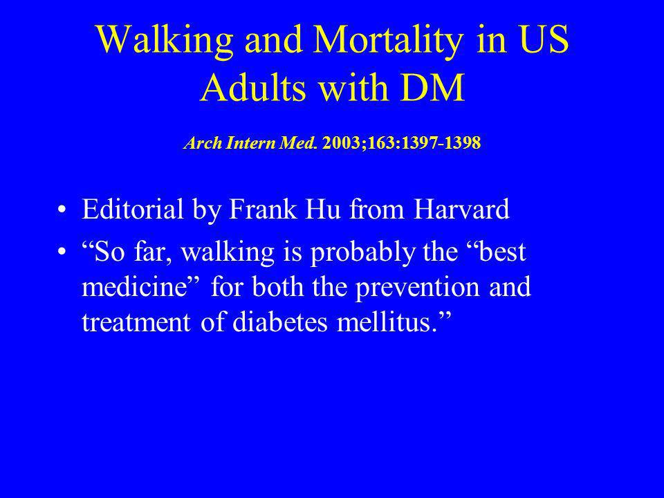 Walking and Mortality in US Adults with DM Arch Intern Med. 2003;163:1397-1398 Editorial by Frank Hu from Harvard So far, walking is probably the best