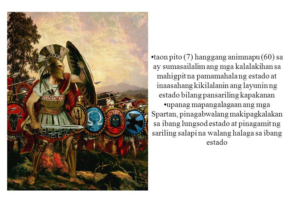 taon pito (7) hanggang animnapu (60) sa ay sumasailalim ang mga kalalakihan sa mahigpit na pamamahala ng estado at inaasahang kikilalanin ang layunin