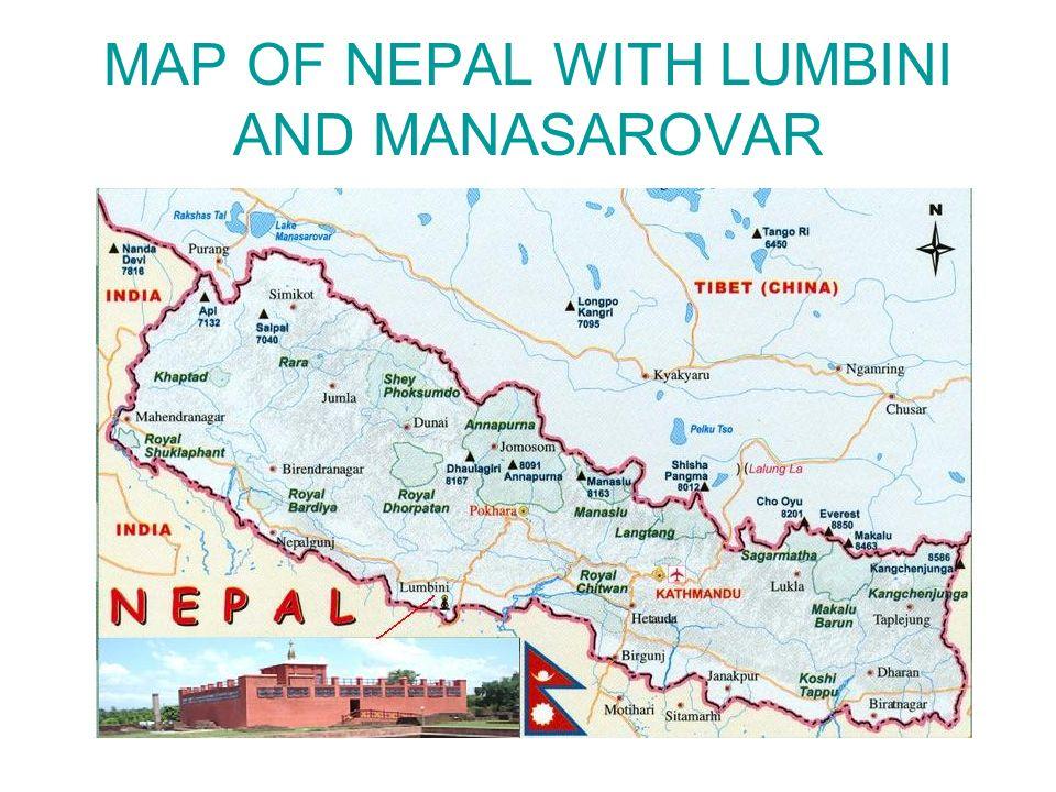 MAP OF NEPAL WITH LUMBINI AND MANASAROVAR