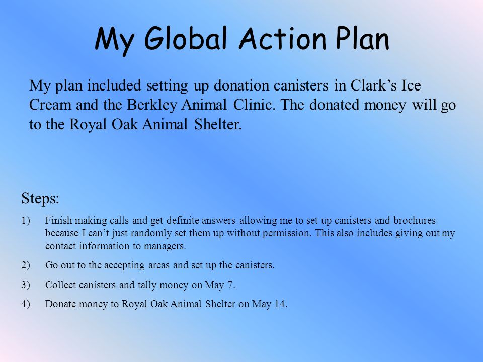 My plan included setting up donation canisters in Clarks Ice Cream and the Berkley Animal Clinic. The donated money will go to the Royal Oak Animal Sh
