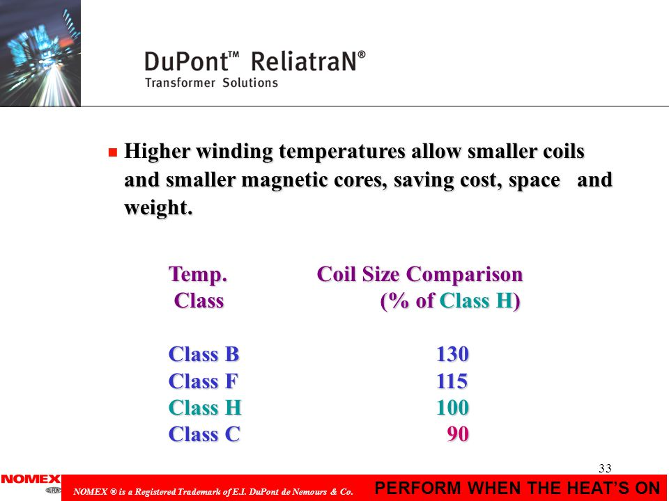 33 PERFORM WHEN THE HEATS ON NOMEX ® is a Registered Trademark of E.I. DuPont de Nemours & Co. Temp. Coil Size Comparison Class (% of Class H) Class (
