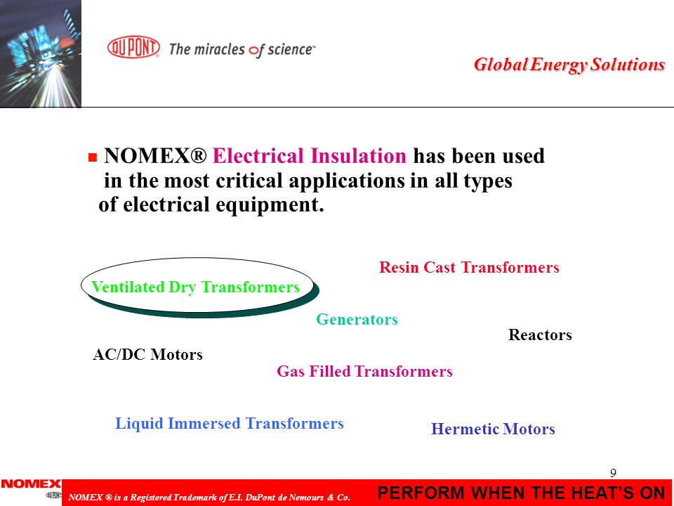 9 PERFORM WHEN THE HEATS ON NOMEX ® is a Registered Trademark of E.I. DuPont de Nemours & Co. Global Energy Solutions n NOMEX® Electrical Insulation h