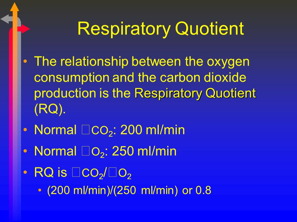 Respiratory Quotient Respiratory QuotientThe relationship between the oxygen consumption and the carbon dioxide production is the Respiratory Quotient