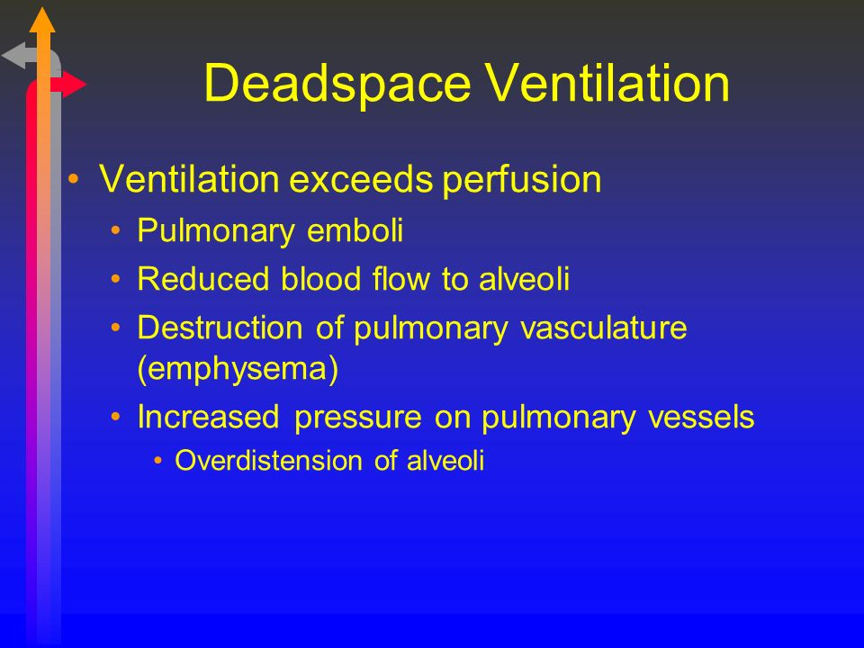 Deadspace Ventilation Ventilation exceeds perfusion Pulmonary emboli Reduced blood flow to alveoli Destruction of pulmonary vasculature (emphysema) In