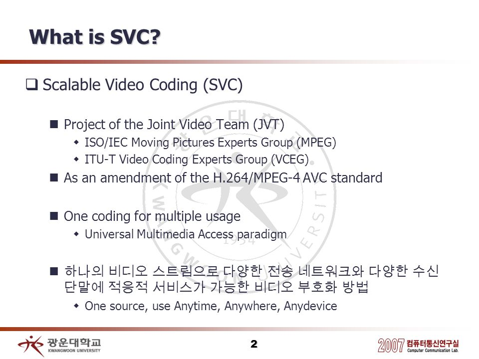 2 What is SVC? Scalable Video Coding (SVC) Project of the Joint Video Team (JVT) ISO/IEC Moving Pictures Experts Group (MPEG) ITU-T Video Coding Exper