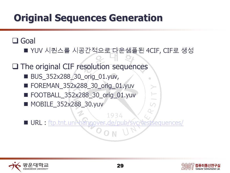 29 Original Sequences Generation Goal YUV 4CIF, CIF The original CIF resolution sequences BUS_352x288_30_orig_01.yuv, FOREMAN_352x288_30_orig_01.yuv F