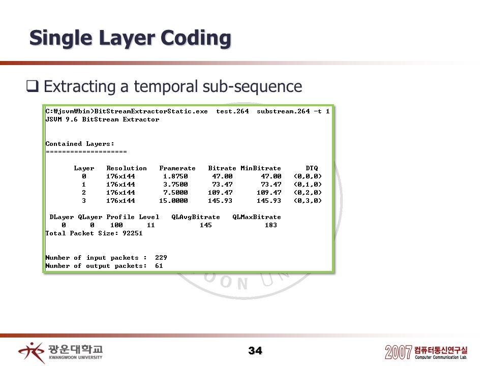 Single Layer Coding Extracting a temporal sub-sequence 34