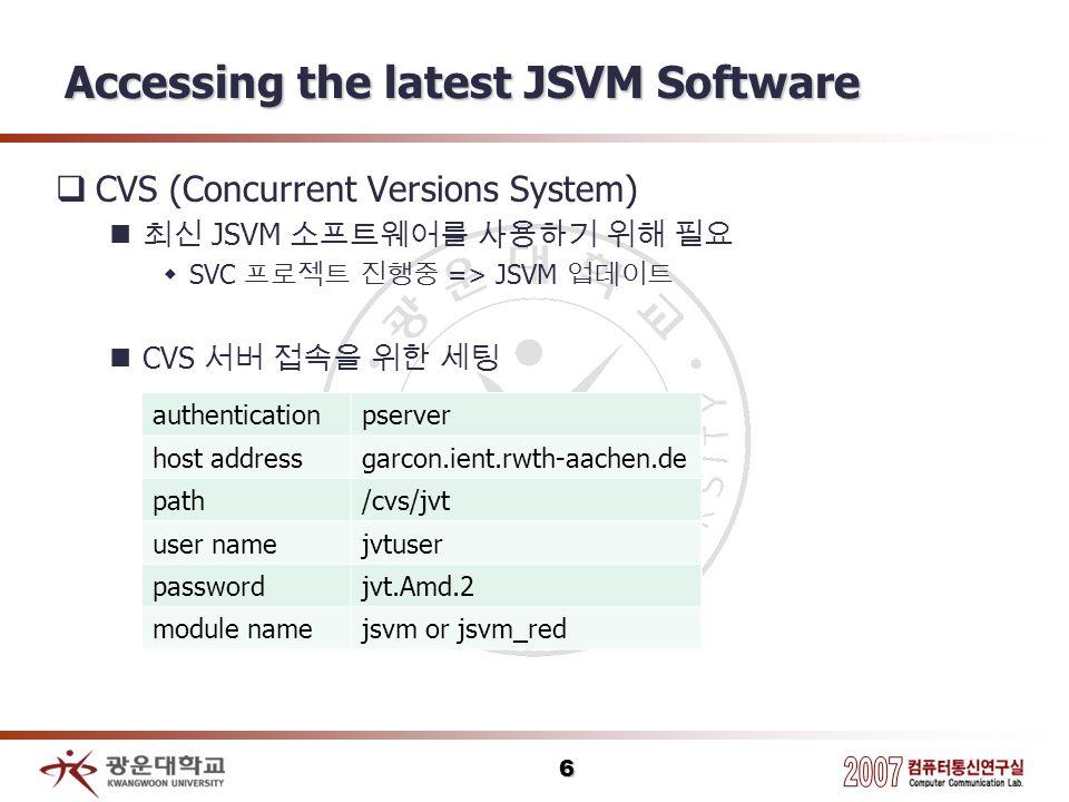 6 Accessing the latest JSVM Software CVS (Concurrent Versions System) JSVM SVC => JSVM CVS authenticationpserver host addressgarcon.ient.rwth-aachen.d