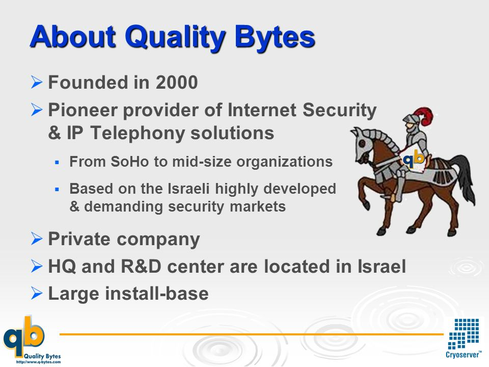 About Quality Bytes Founded in 2000 Pioneer provider of Internet Security & IP Telephony solutions From SoHo to mid-size organizations Based on the Israeli highly developed & demanding security markets Private company HQ and R&D center are located in Israel Large install-base