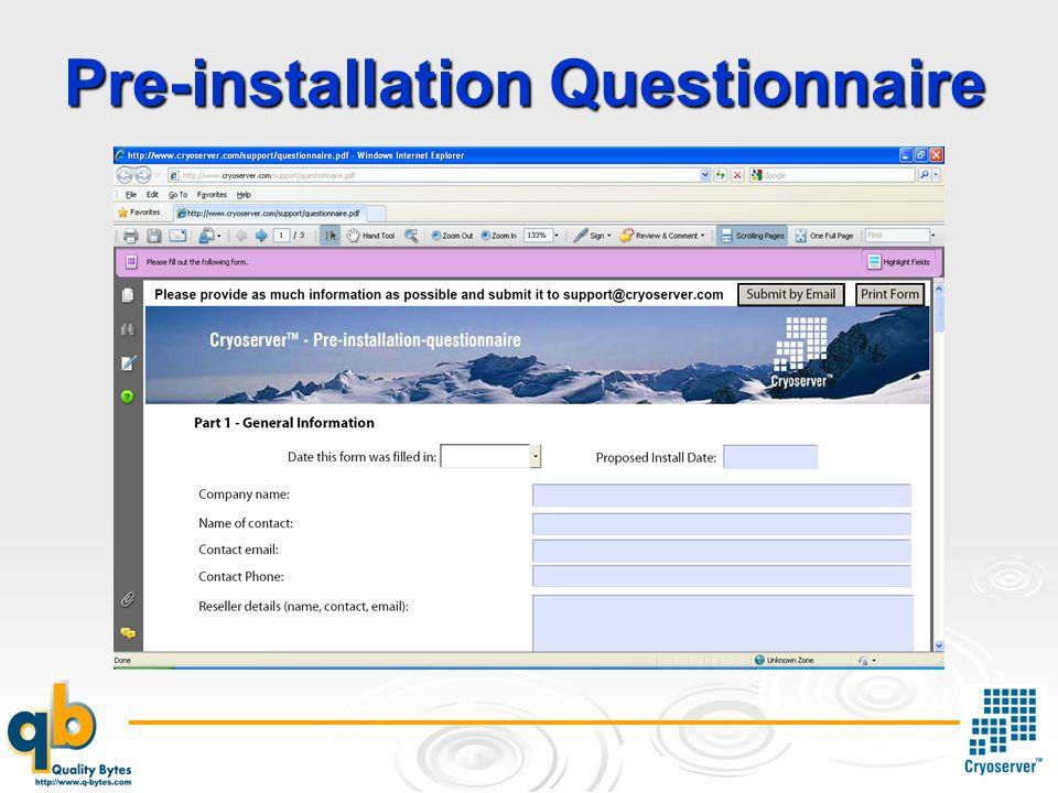 Pre-installation Questionnaire