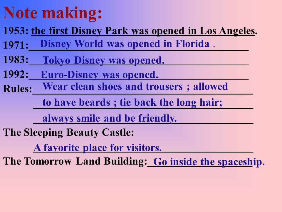 Say Trueor False: ( ) 1. The company of Walt Disney only makes films. ( ) 2. The workers of all the Disney parks are always friendly. ( ) 3. You can f