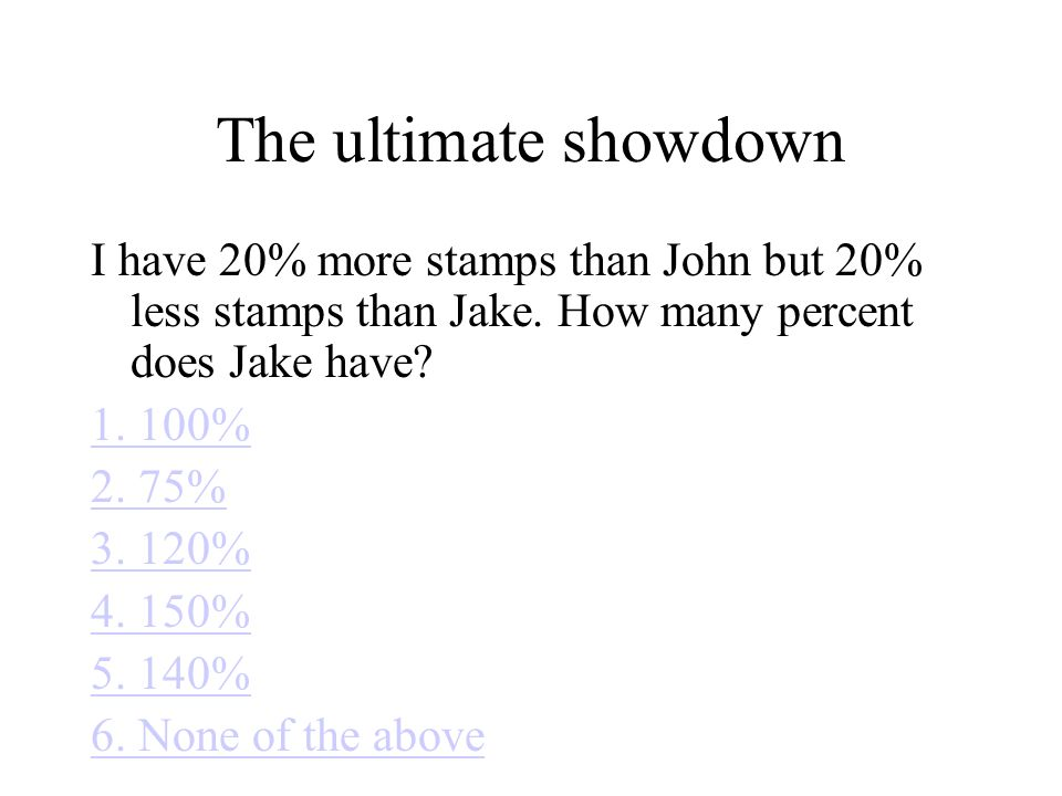The ultimate showdown I have 20% more stamps than John but 20% less stamps than Jake.