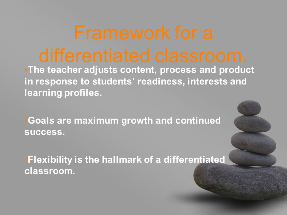 Framework for a differentiated classroom. The teacher adjusts content, process and product in response to students readiness, interests and learning p