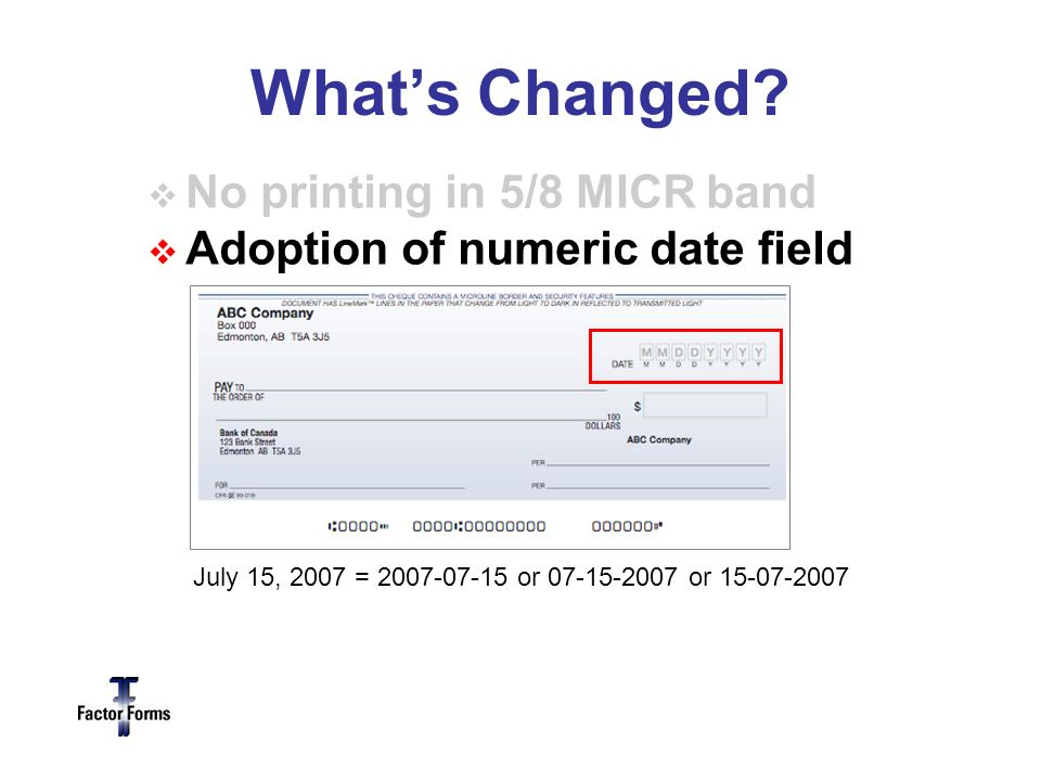 Adoption of numeric date field July 15, 2007 = 2007-07-15 or 07-15-2007 or 15-07-2007 Whats Changed