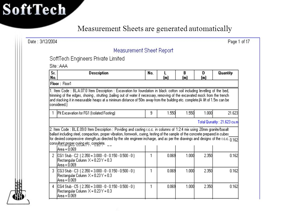 Measurement Sheets are generated automatically