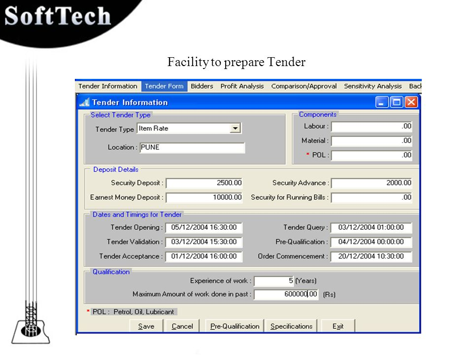 Facility to prepare Tender