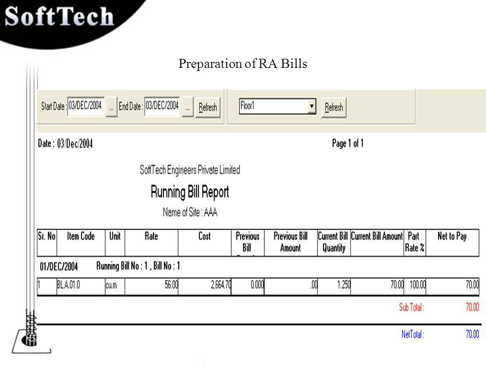 Preparation of RA Bills