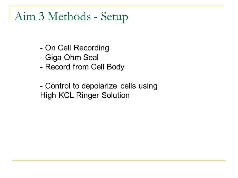 Aim 3 Methods - Setup - On Cell Recording - Giga Ohm Seal - Record from Cell Body - Control to depolarize cells using High KCL Ringer Solution