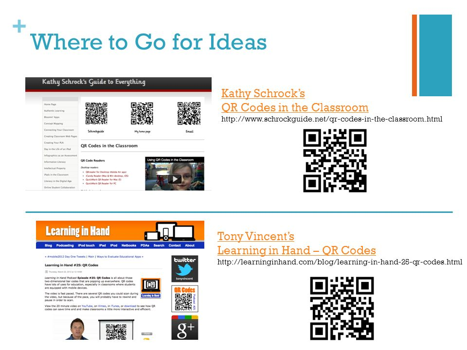 + Where to Go for Ideas Kathy Schrocks QR Codes in the Classroom http://www.schrockguide.net/qr-codes-in-the-classroom.html Tony Vincents Learning in Hand – QR Codes http://learninginhand.com/blog/learning-in-hand-25-qr-codes.html